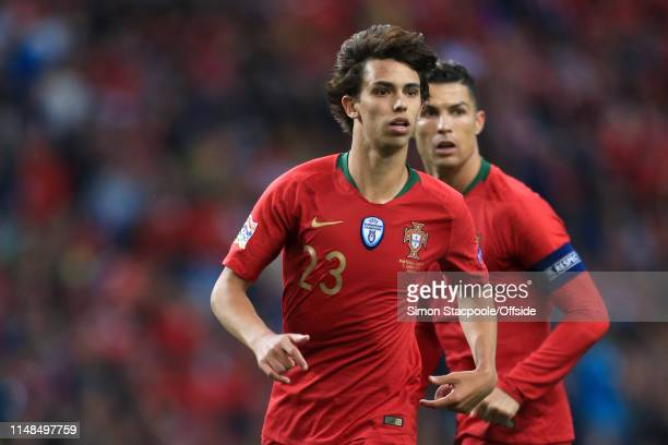 Joao Felix of Portugal and Cristiano Ronaldo of Portugal in action during the UEFA Nations League SemiFinal match between Portugal and Switzerland at...
