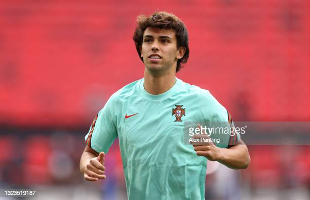 Joao Felix of Portugal looks on during the Portugal Training Session ahead of the UEFA Euro 2020 Group F match between Hungary and Portugal at Puskas...