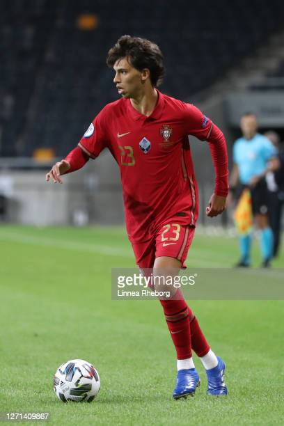 Joao Felix of Portugal runs with the ball during the UEFA Nations League group stage match between Sweden and Portugal at Friends Arena on September...