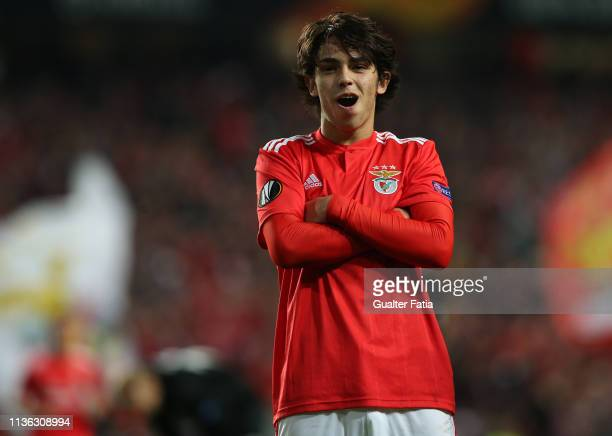 Joao Felix of SL Benfica celebrates after scoring a goal during the UEFA Europa League Quarter Final First Leg match between SL Benfica and Eintracht...