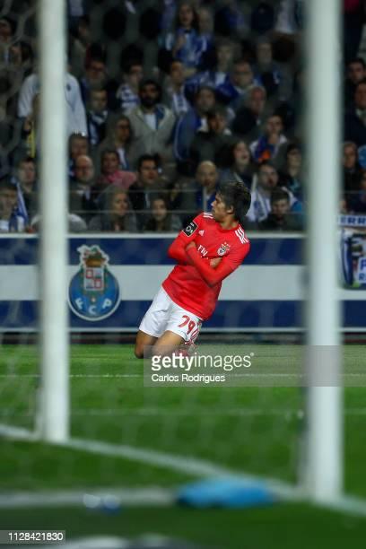 Joao Felix of SL Benfica celebrates scoring SL Benfica goal during the Liga NOS match between FC Porto and SL Benfica at Estadio do Dragao on March 2...