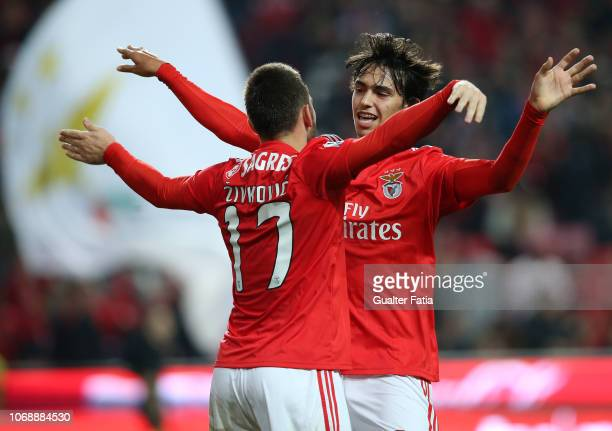 Joao Felix of SL Benfica celebrates with teammate Andrija Zivkovic after scoring the second goal of their team during the Portuguese League Cup match...