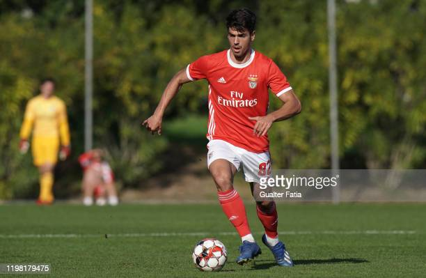 Joao Ferreira of SL Benfica B controls the ball during the Liga Pro match between SL Benfica B and UD Vilafranquense at Benfica Campus on February 2...