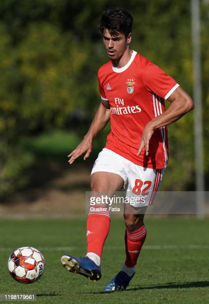 Joao Ferreira of SL Benfica B kicks the ball during the Liga Pro match between SL Benfica B and UD Vilafranquense at Benfica Campus on February 2...