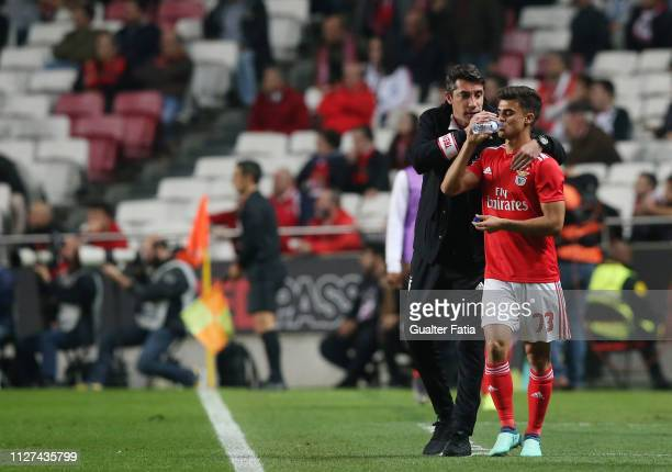 Joao Filipe Jota of SL Benfica with Bruno Lage of SL Benfica during the Liga NOS match between SL Benfica and GD Chaves at Estadio da Luz on February...