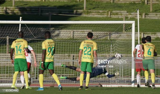 Joao Godinho of CD Mafra saves penalty kick from Pepo of UD Vilafranquense during the Liga Pro match between CD Mafra and UD Vilafranquense at...