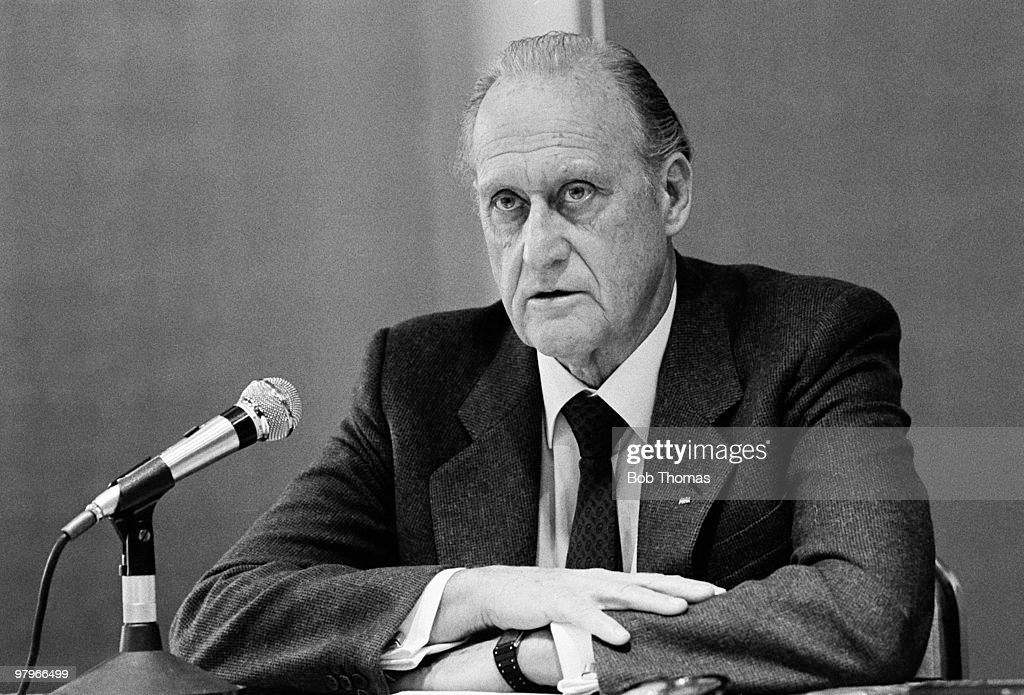 Joao Havelange, President of FIFA during a press conference held in Toyko, Japan on the 8th December 1984.