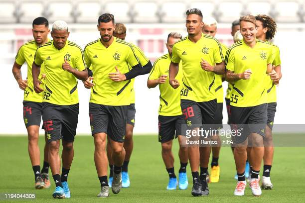 Joao Lucas, Pablo Mari, Rafael Santos and Dantas of CR Flamengo look on during a training session during the FIFA Club World Cup Qatar 2019 on...