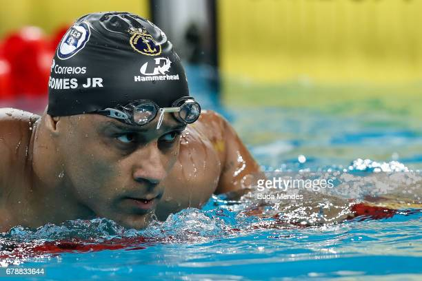Joao Luiz Gomes Junior of Brazil competes in the Men's 50m Breaststroke final during Maria Lenk Swimming Trophy 2017 Day 3 at Maria Lenk Aquatics...