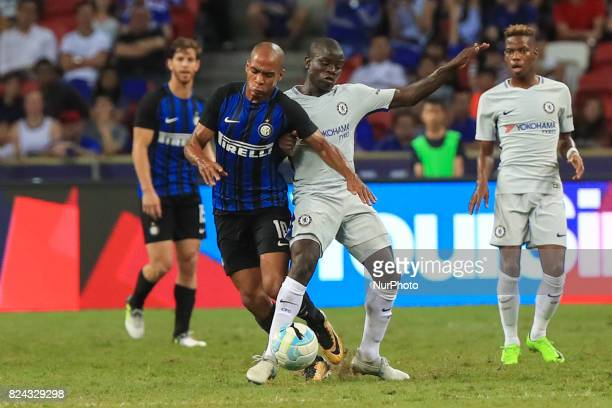 Joao Mario competes agiant a chelsea player during their International Champions Cup football match in Singapore on July 29 2017