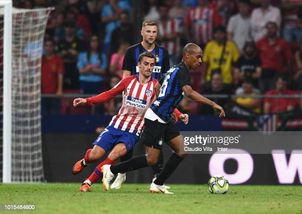 Joao Mario of FC Internazionale and Antoine Griezmann of Atletico Madrid compete for the ball during the International Champions Cup 2018 match...
