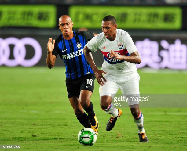 Joao Mario of FC Internazionale and Marcelo Antonio Guedes Filho of Lyon compete for the ball during the 2017 International Champions Cup match...