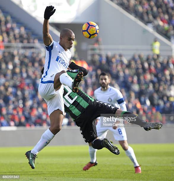 Joao Mario of FC Internazionale and Stefano Sensi comepte for the ball during the Serie A football match between US Sassuolo and FC Internazionale FC...