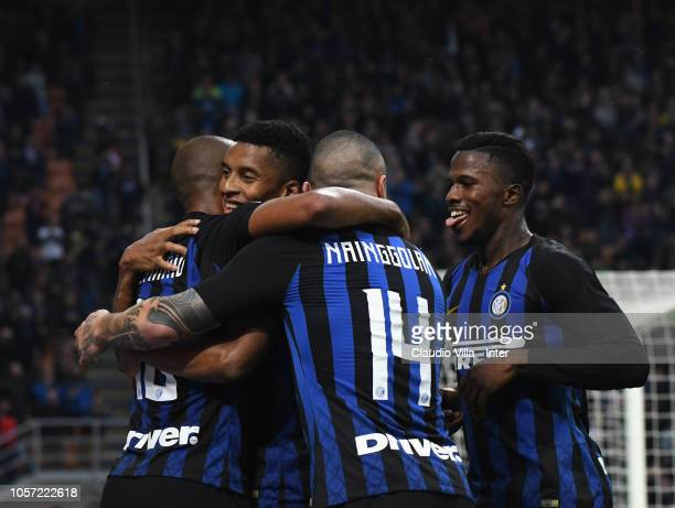 Joao Mario of FC Internazionale celebrates after scoring the fourth goal during the Serie A match between FC Internazionale and Genoa CFC at Stadio...