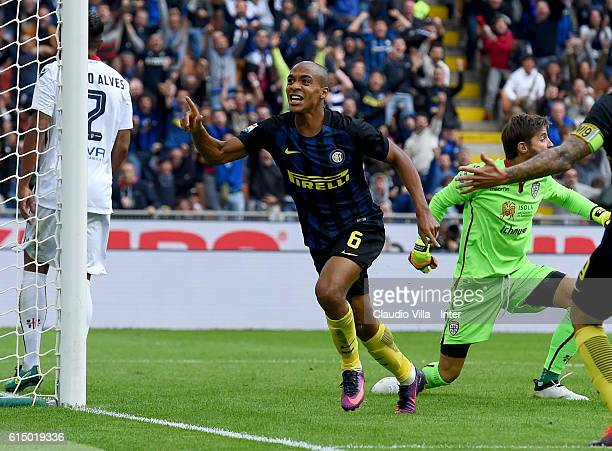 Joao Mario of FC Internazionale celebrates after scoring the opening goal during the Serie A match between FC Internazionale and Cagliari Calcio at...