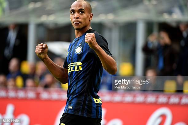 Joao Mario of FC Internazionale celebrates his first goal during the Serie A match between FC Internazionale and Cagliari Calcio at Stadio Giuseppe...
