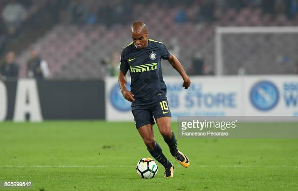 Joao Mario of FC Internazionale in action during the Serie A match between SSC Napoli and FC Internazionale at Stadio San Paolo on October 21 2017 in...