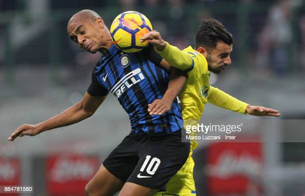 Joao Mario of FC Internazionale in action during the Serie A match between FC Internazionale and AC Chievo Verona at Stadio Giuseppe Meazza on...