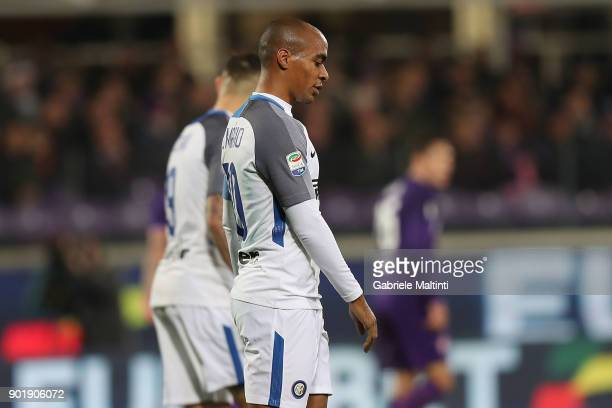 Joao Mario of FC Internazionale in action during the serie A match between ACF Fiorentina and FC Internazionale at Stadio Artemio Franchi on January...