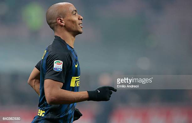 Joao Mario of FC Internazionale Milano celebrates his goal during the Serie A match between FC Internazionale and Pescara Calcio at Stadio Giuseppe...