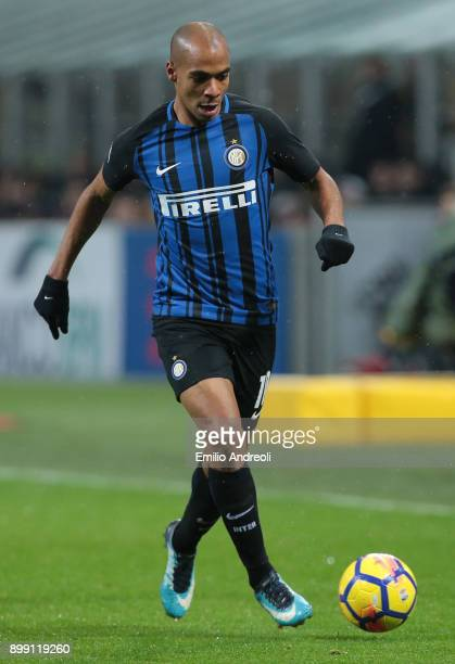 Joao Mario of FC Internazionale Milano in action during the TIM Cup match between AC Milan and FC Internazionale at Stadio Giuseppe Meazza on...