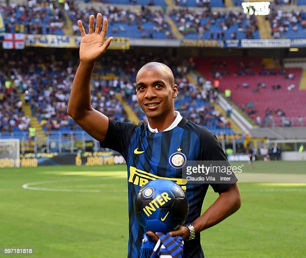 Joao Mario of FC Internazionale prior to the Serie A match between FC Internazionale and US Citta di Palermo at Stadio Giuseppe Meazza on August 28...