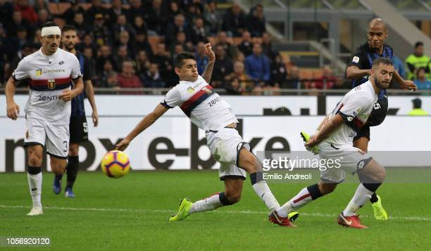 Joao Mario of FC Internazionale scores the third goal during the Serie A match between FC Internazionale and Genoa CFC at Stadio Giuseppe Meazza on...