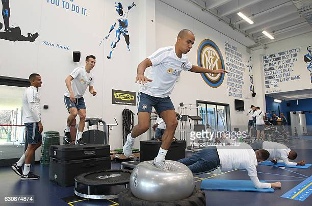 Joao Mario of FC Internazionale trains in the gym during the FC Internazionale training session at the club's training ground Suning Training Center...