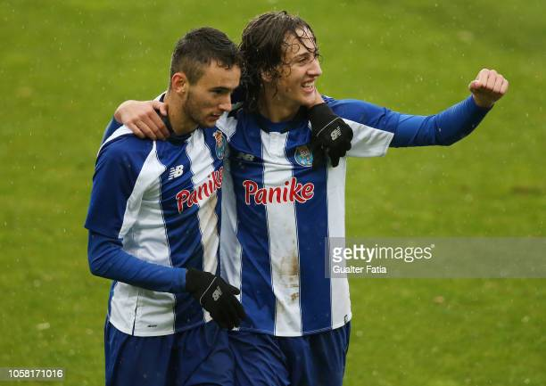 Joao Mario of FC Porto celebrates with teammate Fabio Silva of FC Porto after scoring a goal in action during the UEFA Youth League match between FC...