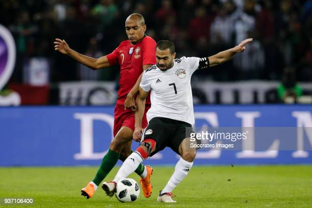 Joao Mario of Portugal Ahmed Fathi of Egypt during the International Friendly match between Egypt v Portugal at the Letzigrund Stadium on March 23...
