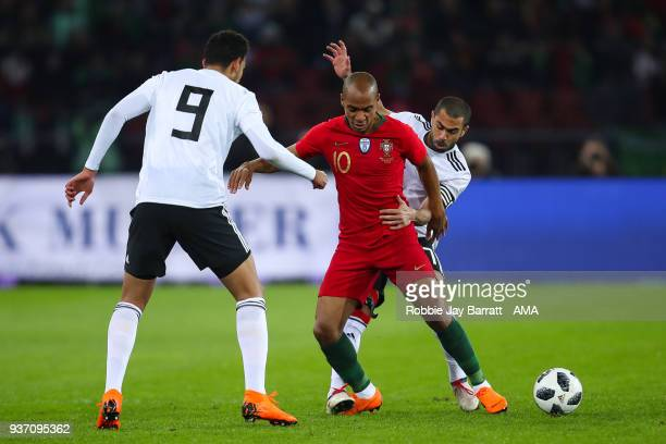Joao Mario of Portugal and Ahmed Fathi of Egypt during the International Friendly match between Egypt and Portugal at Stadion Letzigrund on March 23...