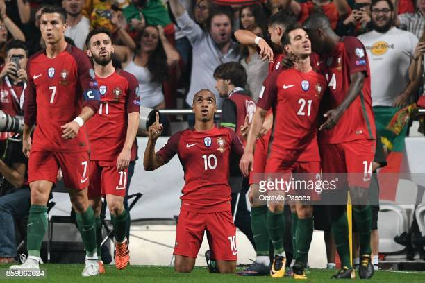 Joao Mario of Portugal celebrates after scores the first goal against Switzerland during the FIFA 2018 World Cup Qualifier between Portugal and...