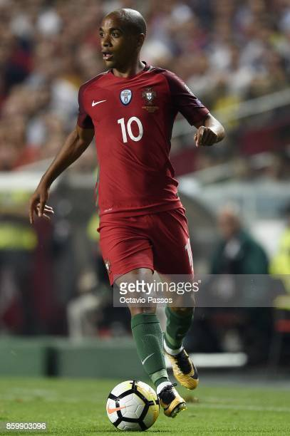 Joao Mario of Portugal in action during the FIFA 2018 World Cup Qualifier between Portugal and Switzerland at the Luz Stadium on October 10 2017 in...