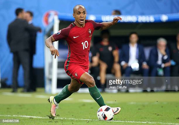 Joao Mario of Portugal in action during the UEFA Euro 2016 final match between Portugal and France at Stade de France on July 10 2016 in SaintDenis...