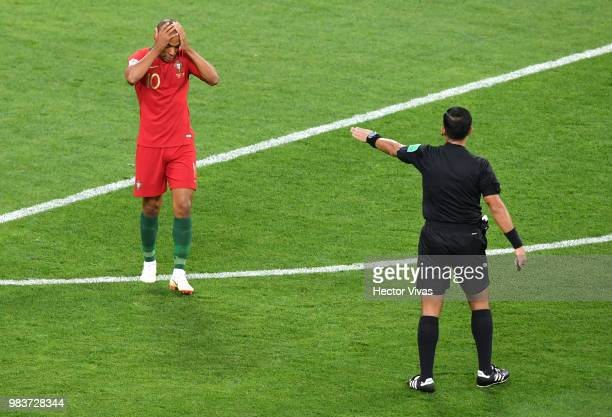 Joao Mario of Portugal reacts during the 2018 FIFA World Cup Russia group B match between Iran and Portugal at Mordovia Arena on June 25 2018 in...