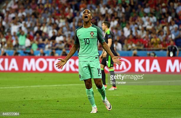 Joao Mario of Portugal reacts during the UEFA EURO 2016 semi final match between Portugal and Wales at Stade des Lumieres on July 6 2016 in Lyon...