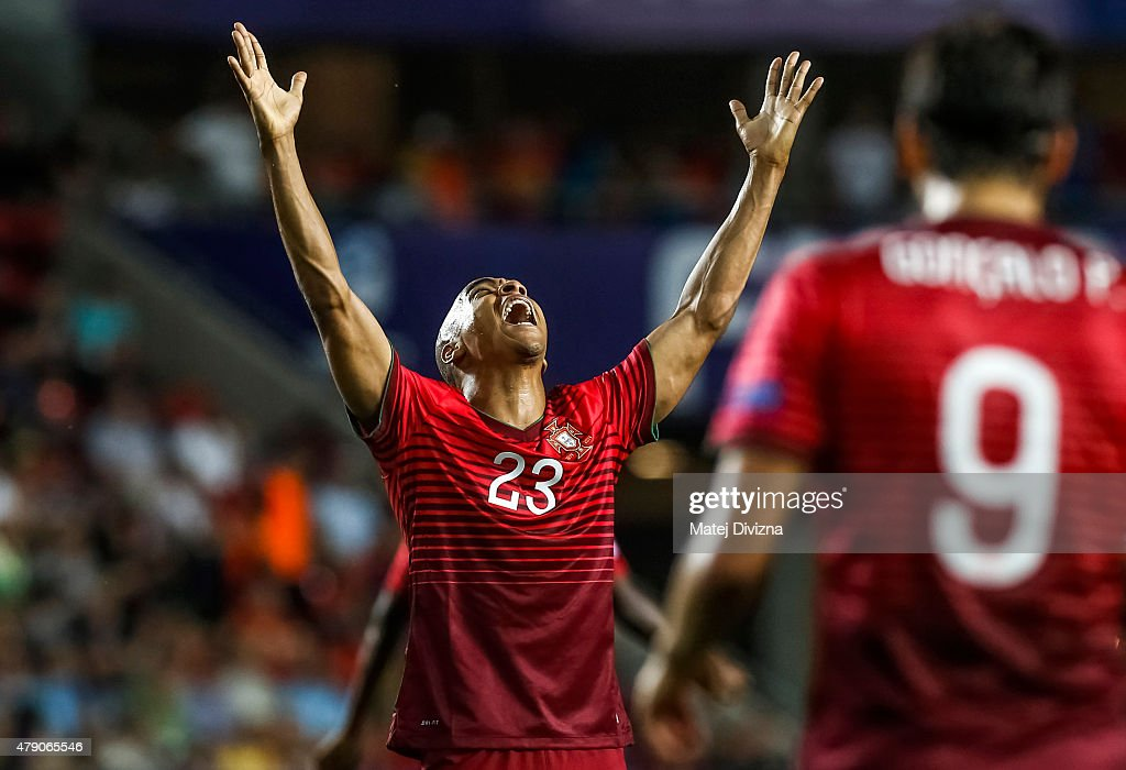 Joao Mario of Portugal reacts during UEFA U21 European Championship final match between Portugal and Sweden at Eden Stadium on June 30, 2015 in Prague, Czech Republic.
