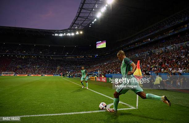 Joao Mario of Portugal takes a corner during the UEFA EURO 2016 semi final match between Portugal and Wales at Stade des Lumieres on July 6 2016 in...