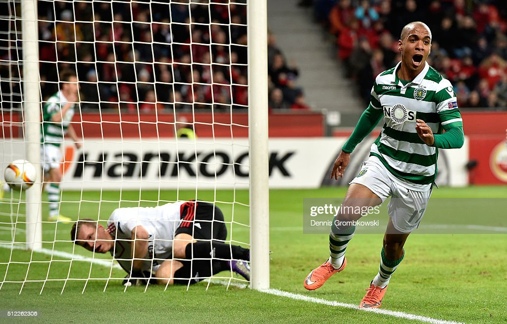 Joao Mario (R) of Sporting Lisbon celebrates scoring his team's first goal during the UEFA Europa League round of 32 second leg match between Bayer Leverkusen and Sporting Lisbon at BayArena on February 25, 2016 in Leverkusen, Germany.