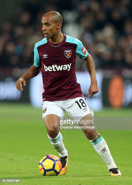 Joao Mario of West Ham during the Premier League match between West Ham United and Crystal Palace at London Stadium on January 30 2018 in London...