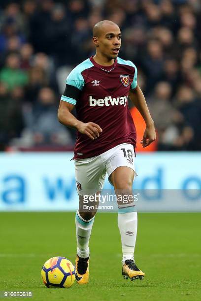 Joao Mario of West Ham United in action during the Premier League match between West Ham United and Watford at London Stadium on February 10 2018 in...