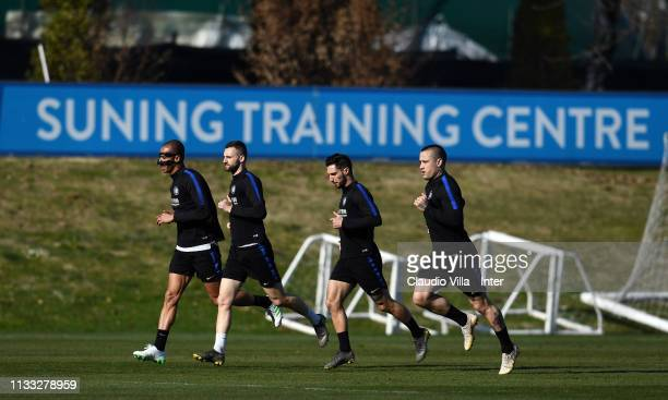 Joao Miranda de Souza Filho Marcelo Brozovic Matteo Politano and Radja Nainggolan of FC Internazionale in action during a training session at the...