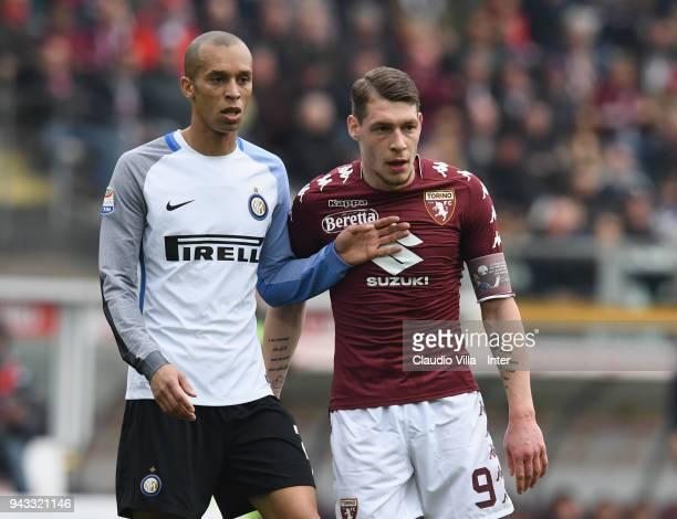 Joao Miranda de Souza Filho of FC Internazionale and Andrea Belotti of Torino FC look on during the serie A match between Torino FC and FC...