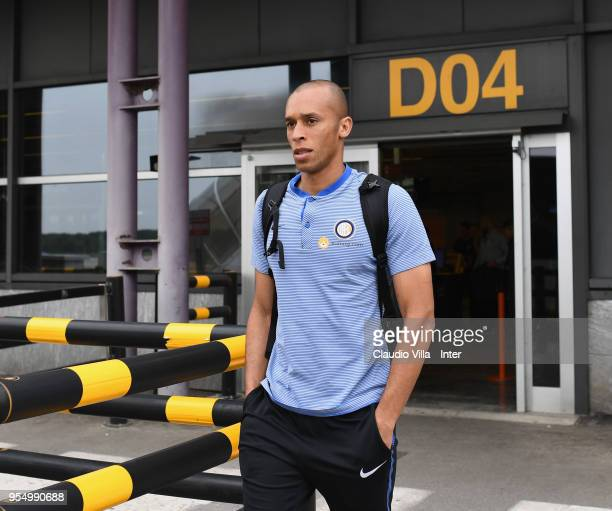 Joao Miranda de Souza Filho of FC Internazionale departs to Udine on May 5 2018 in Milan Italy