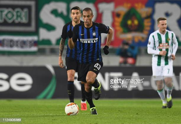 Joao Miranda de Souza Filho of FC Internazionale in action during the UEFA Europa League Round of 32 First Leg match between SK Rapid Wien and FC...