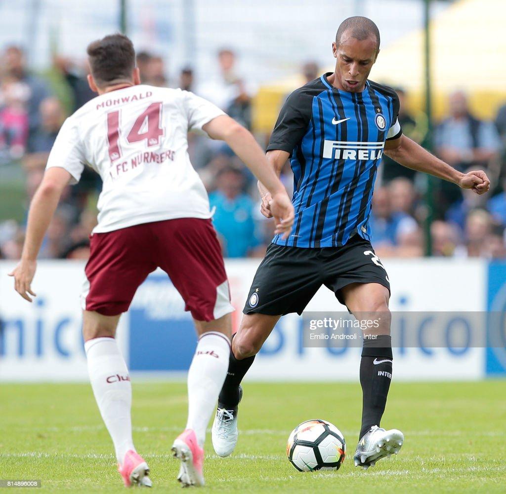 Joao Miranda de Souza Filho of FC Internazionale Milano (R) in action during the Pre-Season Friendly match between FC Internazionale and Nurnberg on July 15, 2017 in Bruneck, Italy.