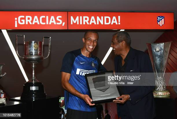 Joao Miranda de Souza Filho of FC Internazionale receives at gifts prior to the International Champions Cup 2018 match between Atletico Madrid and FC...
