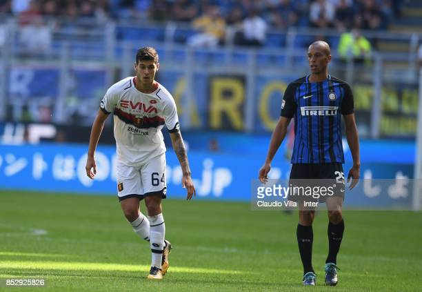 Joao Miranda of FC Internazionale competes for the ball with Pietro Pellegri of Genoa CFC during the Serie A match between FC Internazionale and...