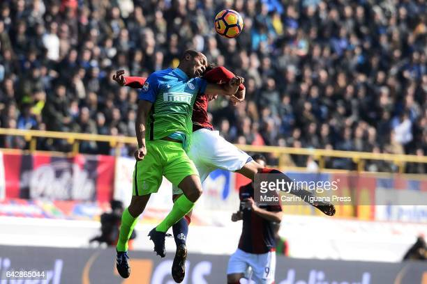 Joao Miranda of FC Internazionale heads the ball during the Serie A match between Bologna FC and FC Internazionale at Stadio Renato Dall'Ara on...