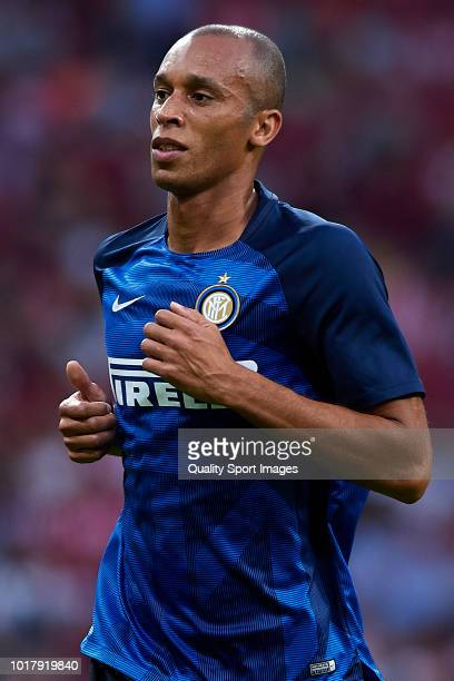 Joao Miranda of FC Internazionale looks on during the International Champions Cup match between Atletico de Madrid and FC Internazionale at Wanda...